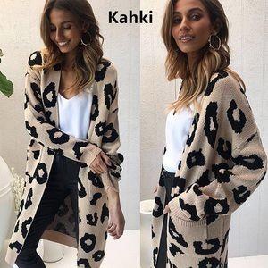 Sweaters - NWT Leopard Print Long Cardigan Sweater Coat